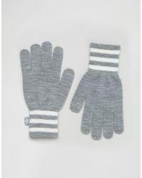 adidas Originals - Originals Knitted Gloves With Three Stripe Trim - Grey - Lyst