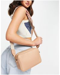 ASOS Leather Double Compartment Camera Bag With Webbing Strap - Multicolor