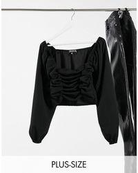 Missguided - Blusa con arricciatura nera - Lyst