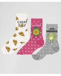 New Look - 3 Pack Avocado Pizza Ankle Socks - Lyst