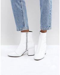 ASOS - Rosana Leather Block Heeled Boots - Lyst
