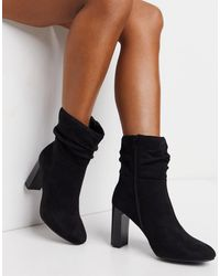 Lipsy Faux Suede Slouch Heeled Boot - Black