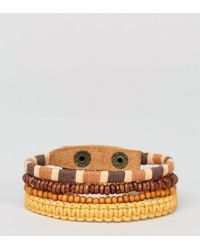ASOS - Leather And Beaded Bracelet Pack In Orange - Lyst