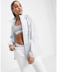 Calvin Klein Back Logo Hooded Windbreaker - White