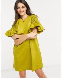 Ted Baker Kleid In A-linie Mit Gesmokten Ärmeln - Grün