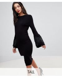 Y.A.S | Knitted Bodycon Midi Dress With Lace Applique Bell Sleeves | Lyst