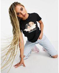 Fiorucci T-shirt motif anges style vintage - Noir