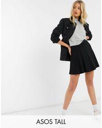 ASOS Asos Design Tall - Zwierige Minirok Met Elastische Taille - Zwart