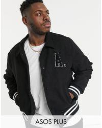 ASOS Plus Wool Mix Varsity Bomber Jacket With Badges - Black