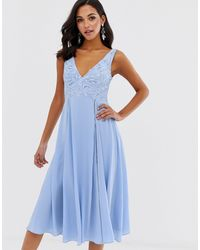 ASOS - Midi Sleeveless Dress With Lace Bodice - Lyst