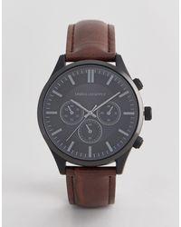 ASOS Horloge Met Krokodillenbandje En Contrasterend Zwart Omhulsel - Bruin