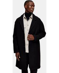 TOPMAN Dropped Shoulder Coat With Wool - Black