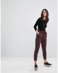 Pull&Bear Stripe Tie Waist Trouser - Red