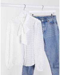 Glamorous Blouse texturée avec nœud lavallière et manches ballon - Blanc