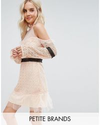 True Decadence Cold Shoulder All Over Lace Mini Dress With Contrast Waistband And Mesh Hem - Natural