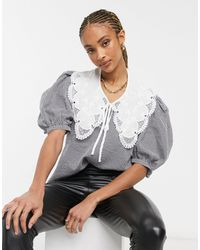 Object Blouse With Oversized Collar And Puff Sleeves - Grey