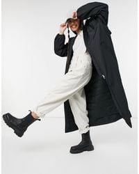 Weekday May Hooded Nylon Long Jacket - Black