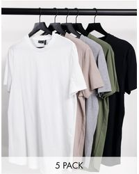 ASOS 5 Pack Longline T-shirt With Side Splits - Multicolor