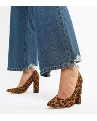 Truffle Collection - Wide Fit Pointed Leopard Block Heels - Lyst