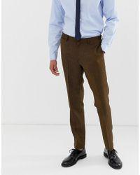 ASOS - Pantalones de traje para boda de corte slim en mezcla de lana y sarga en color tostado de - Lyst