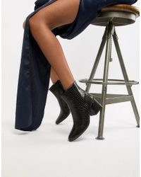 Boohoo - Flared Heel Ankle Boot In Black Croc - Lyst