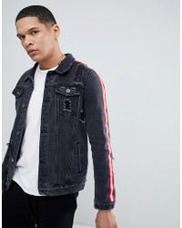 Liquor N Poker - Black Denim Jacket With Side Stripes And Rip And Repair - Lyst