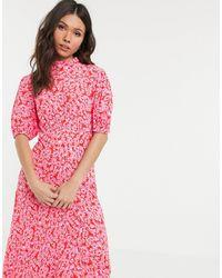 Ghost Luella Floral Print Short Sleeve Midi Dress - Pink