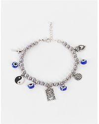 Reclaimed (vintage) Inspired - Armband Met Yin-yang Motief Met Donkere Imitatieparels - Meerkleurig