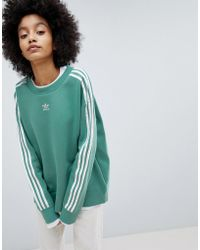 adidas Originals - Originals Adicolor Three Stripe Sweatshirt In Green - Lyst