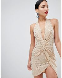 Flounce London - Sequin Mini Dress With Twist Front In Gold - Lyst