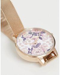 Olivia Burton Ob16lp01 Wildflower Demi Mesh Watch - Metallic
