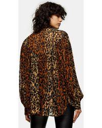 TOPSHOP Коричневая Oversized-блузка С Набивкой Флок -коричневый Цвет