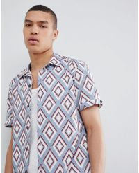 Ted Baker - Slim Revere Collar Shirt With Diamond Print - Lyst