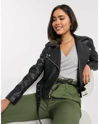 Stradivarius Faux Leather Biker Jacket - Multicolor