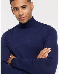 ASOS Muscle Fit Merino Wool Roll Neck Sweater - Blue