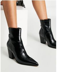 NA-KD Черные Ботинки На Массивном Каблуке -черный Цвет
