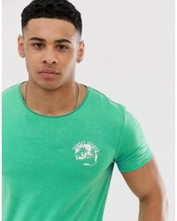 Tom Tailor – T-Shirt mit Sonnenuntergang-Print - Grün