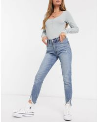 Abercrombie & Fitch Chewed Hem Skinny Jeans - Blue