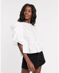 Sister Jane Shirt With Tiered Sleeves And Diamante Button Detail - White