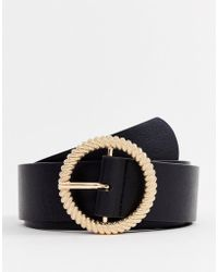 ASOS - Faux Leather Wide Belt In Black With Gold Circle Buckle - Lyst
