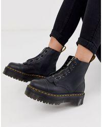Dr. Martens Pebbled Leather Platform Boots - Black