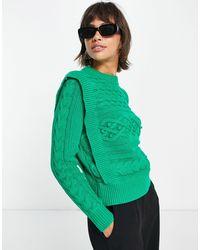 Y.A.S Maglione con trecce sulle spalle - Verde