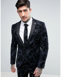 Noose And Monkey Skinny Tuxedo Jacket In Flocked Floral With Stretch - Grey