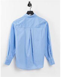 Y.A.S Голубая Классическая Поплиновая Рубашка -голубой - Синий