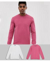 ASOS - Set Van 2 Aansluitende Sweatshirts In Roze/wit - Lyst
