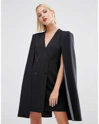 Lavish Alice Split Back Cape Dress - Black