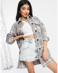 New Look Long Line Shacket - Grey