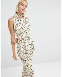 Lavish Alice Abstract Print Collar Tie Belt Top - Cream/ Black - Multicolour