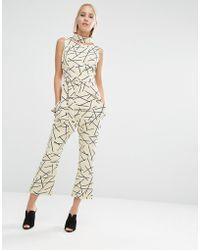 Lavish Alice Abstract Print Kick Flare Cropped Pants - Natural
