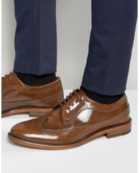 Dune - Brogues In Tan Leather - Lyst